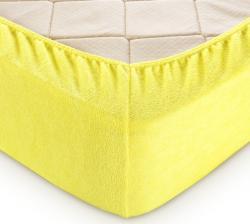 Купить желтую махровую простынь на резинке